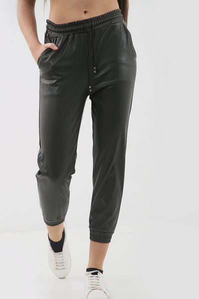 Green Faux Leather Joggers - Bella