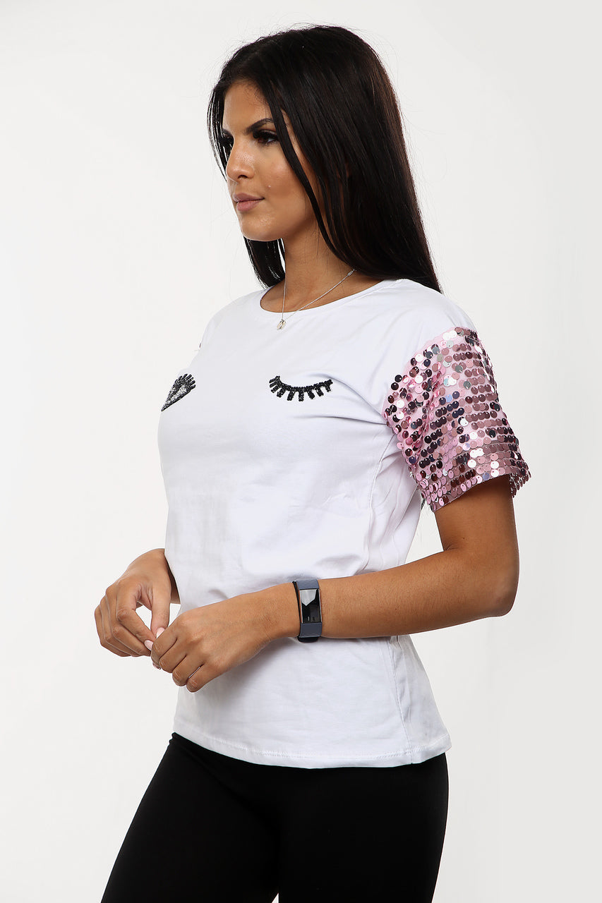 White Pink Sequin Sleeve Eye T Shirt - Holly