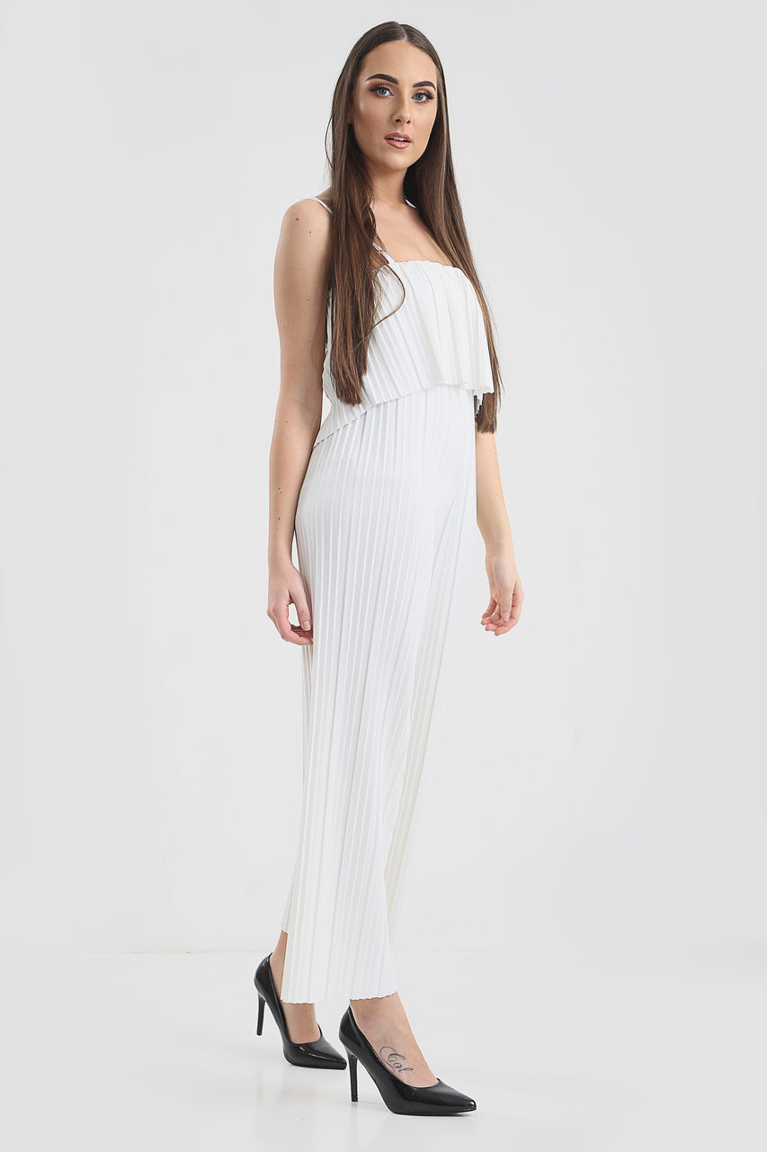 White Frill Pleated Culotte Strap Jumpsuit - Angelina