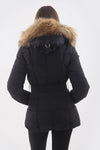 Womens Black Coat Natural Real Fur Hood Padded Parka Jacket - Linda