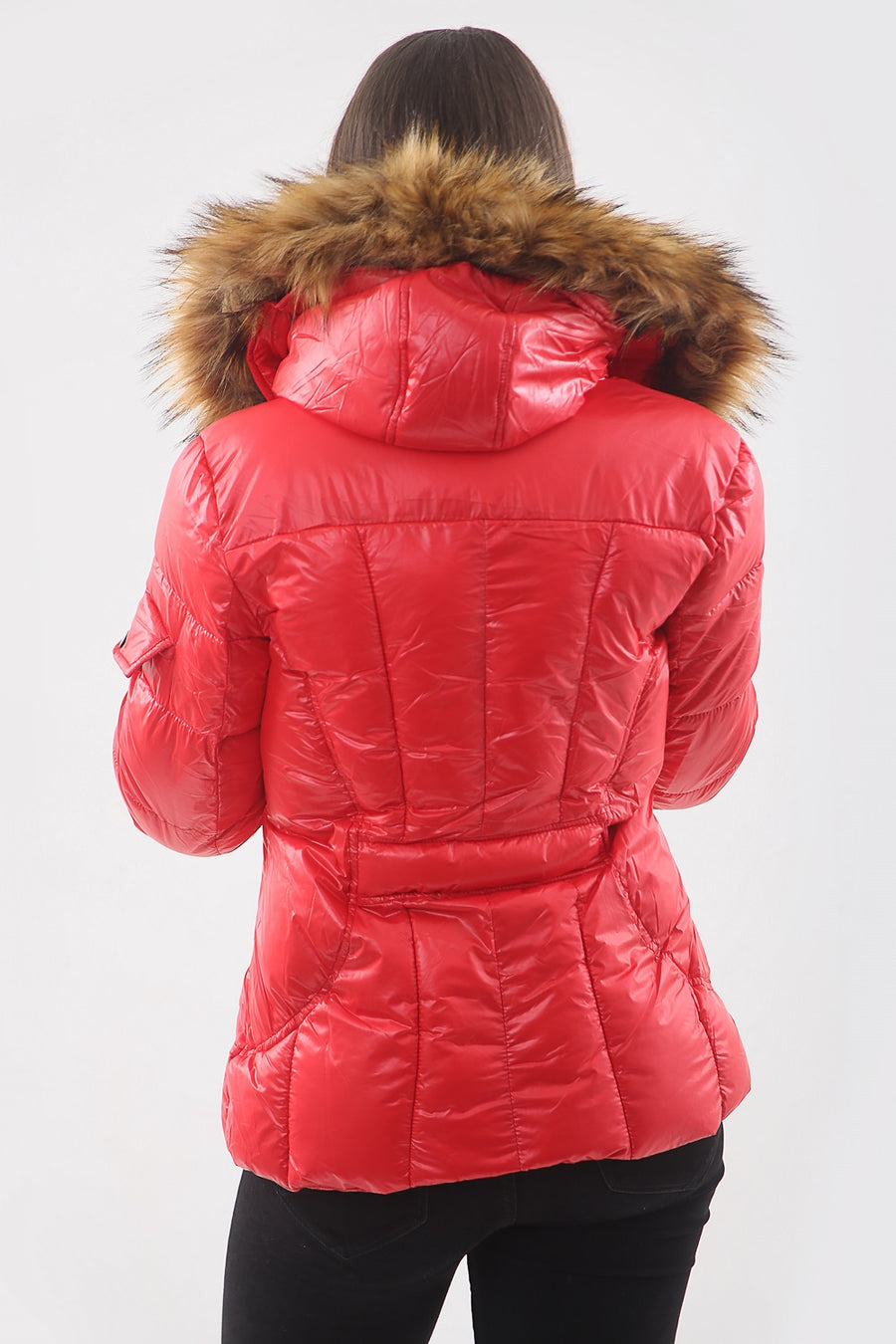 Red Shiny Faux Fur Hood Puffer Quilted Jacket - River