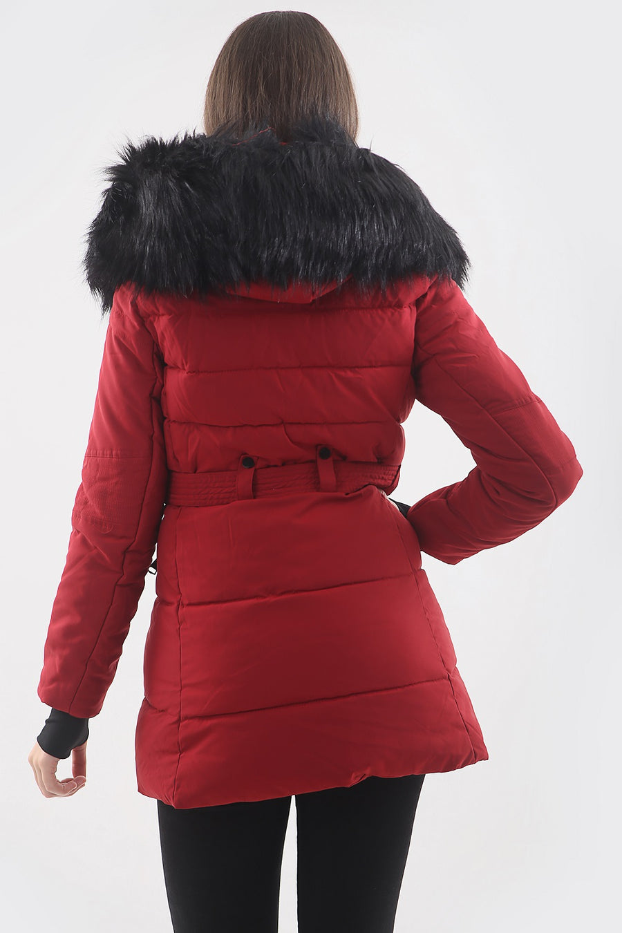Red Faux Fur Hood Long Padded Puffer Jacket - Paige