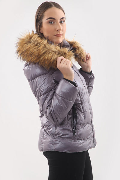 Grey Shiny Faux Fur Hood Puffer Quilted Jacket - River