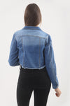 Blue Distresed Hem Denim Jacket - Vera - storm desire