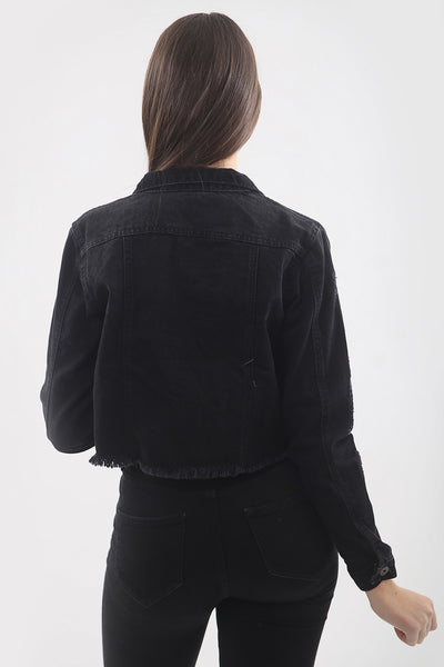 Black Distresed Hem Denim Jacket - Vera - storm desire