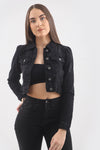 Black Denim Puff Sleeve Denim Jacket - Sloane - storm desire