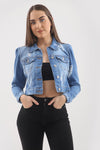 Light Denim Distressed Puff Sleeve Denim Jacket - Sloane