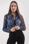 Dark Denim Distressed Puff Sleeve Denim Jacket - Sloane