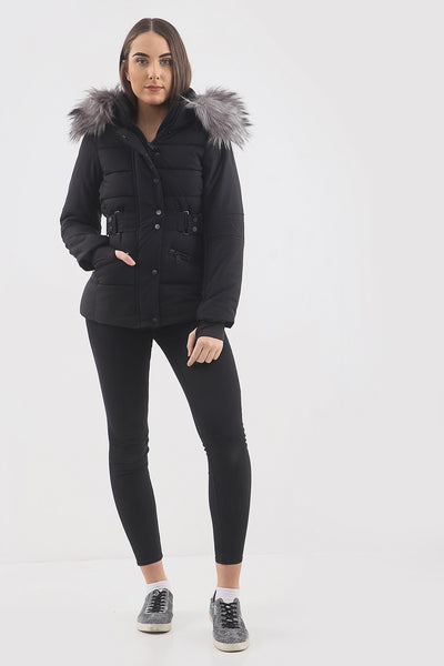 Black Chunky Faux Fur Hood Padded Puffer Jacket - Lucy - storm desire