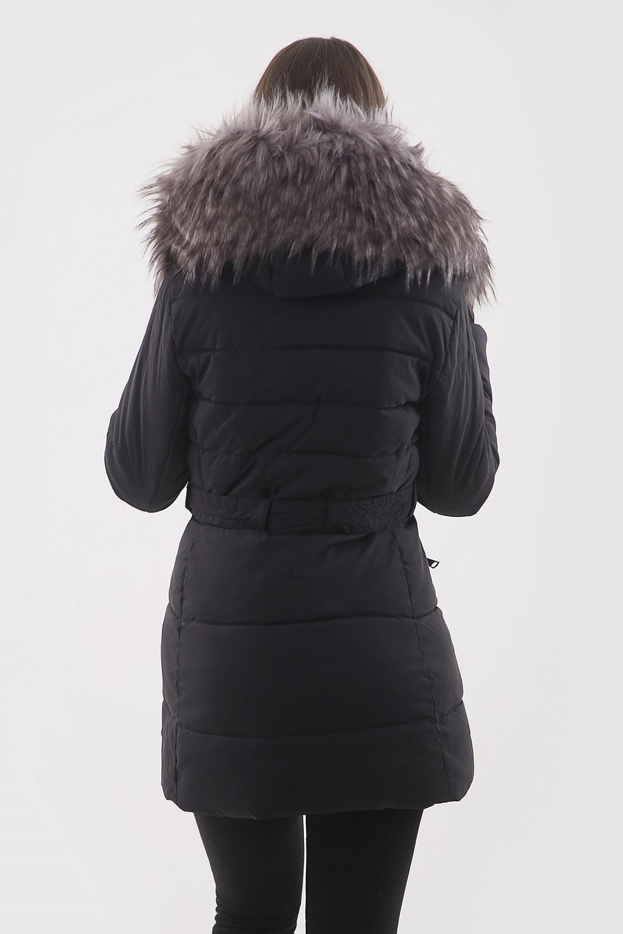 Black Faux Fur Hood Long Padded Puffer Jacket - Paige - storm desire