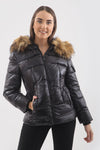 Black Shiny Faux Fur Hood Puffer Quilted Jacket - River - storm desire