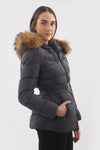 Dark Grey Quilted Natural Fur Hood Belt Puffer Zip Jacket - Zarina