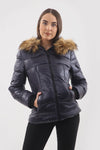 Navy Blue Shiny Faux Fur Hood Puffer Quilted Jacket - River