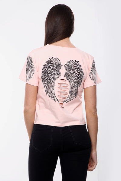 Baby Pink Angel Slit Back T-Shirt - Lauren