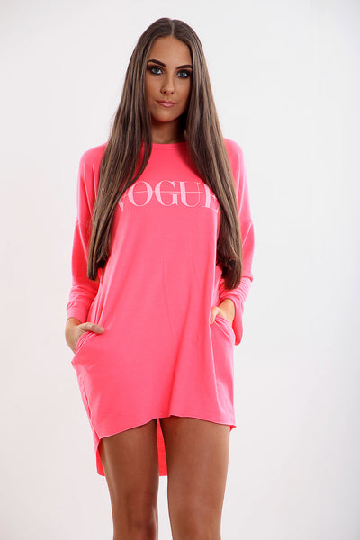 Neon Pink Vogue Oversized Baggy Slogan Sweat Jumper Dress - Eleanor - Storm Desire