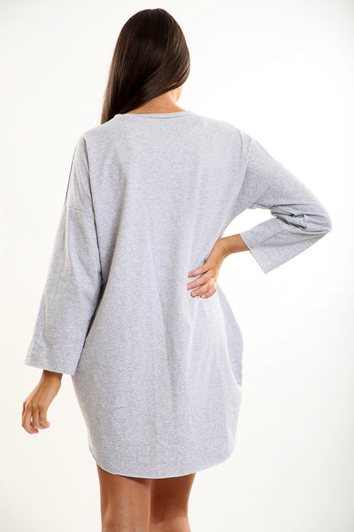 Grey Vogue Oversized Baggy Slogan Sweat Jumper Dress - Eleanor - Storm Desire