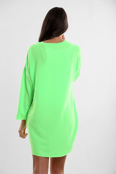 Neon Green Vogue Oversized Baggy Slogan Sweat Jumper Dress - Eleanor - Storm Desire