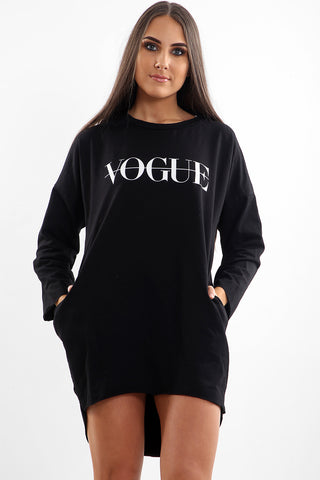 Black Vogue Oversized Baggy Slogan Sweat Jumper Dress - Eleanor - storm desire