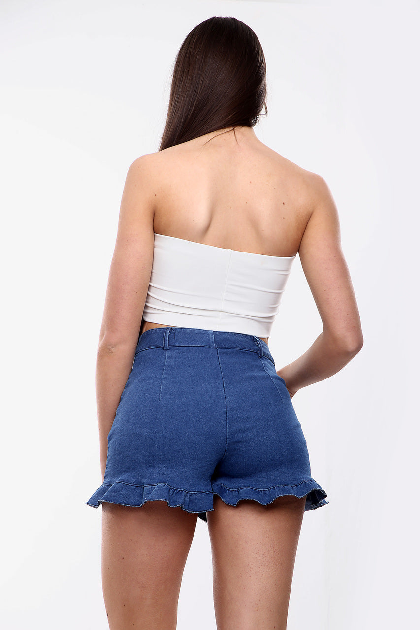 Dark Denim High Waisted Frill Shorts - Millie