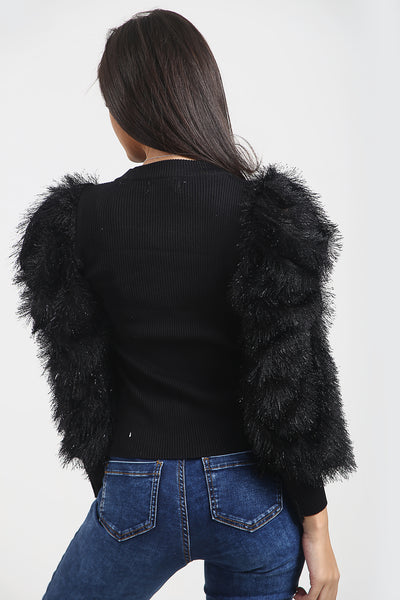 Black Feather Fur Sleeve Knitted Jumper - Jordan