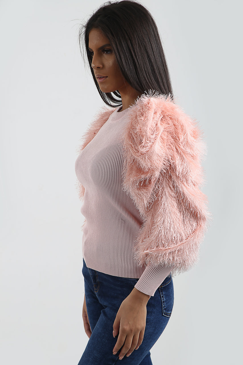 Baby Pink Feather Fur Sleeve Knitted Jumper - Jordan