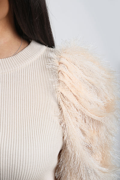 Light Beige Feather Fur Sleeve Knitted Jumper - Jordan