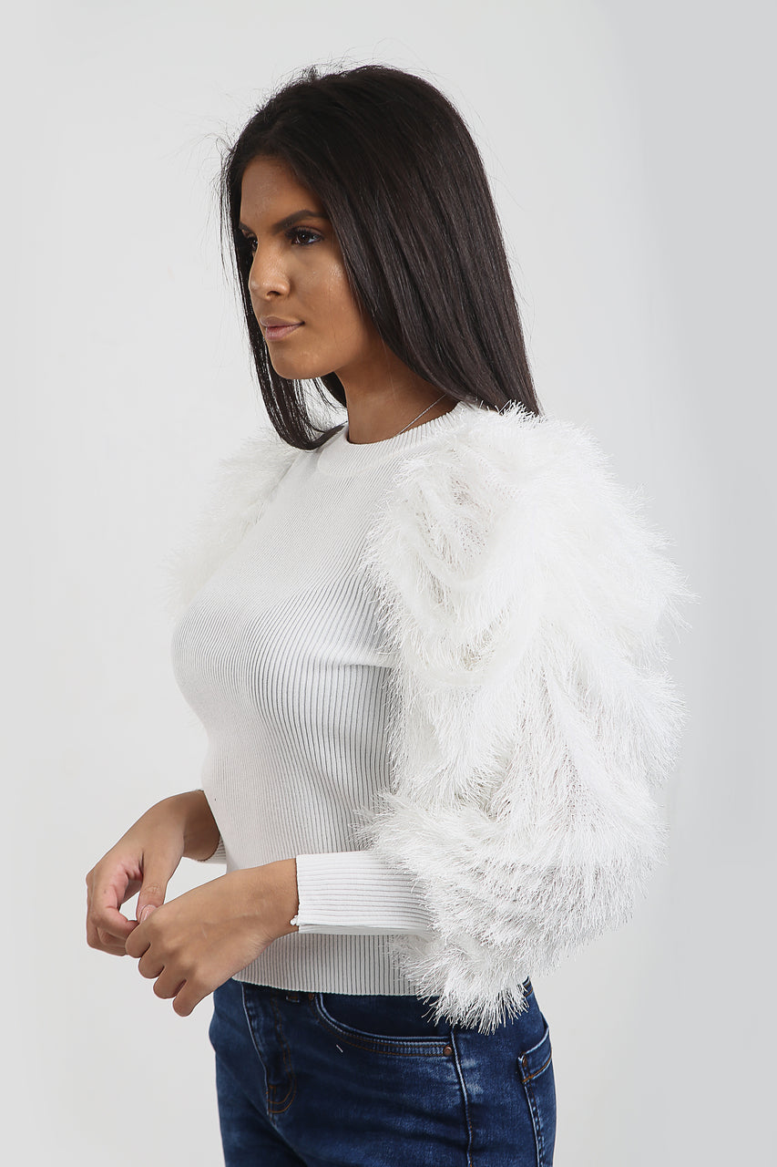 White Feather Fur Sleeve Knitted Jumper - Jordan