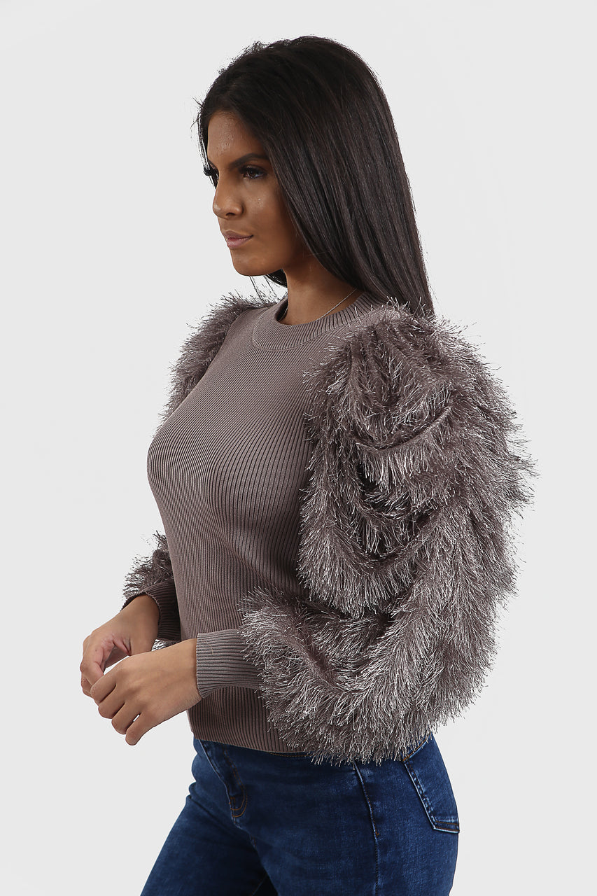 Grey Feather Fur Sleeve Knitted Jumper - Jordan