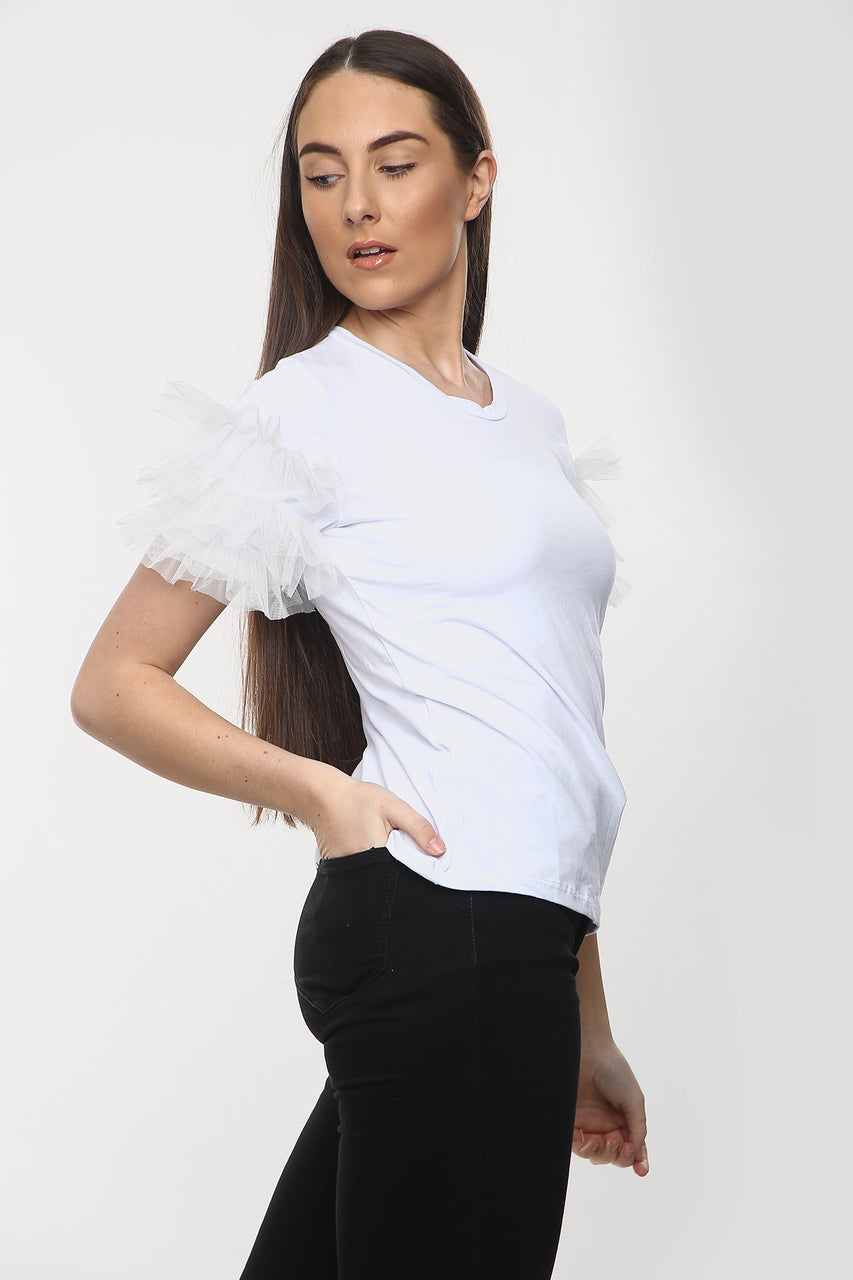 White Mesh Sleeve T-Shirt - ELLIE