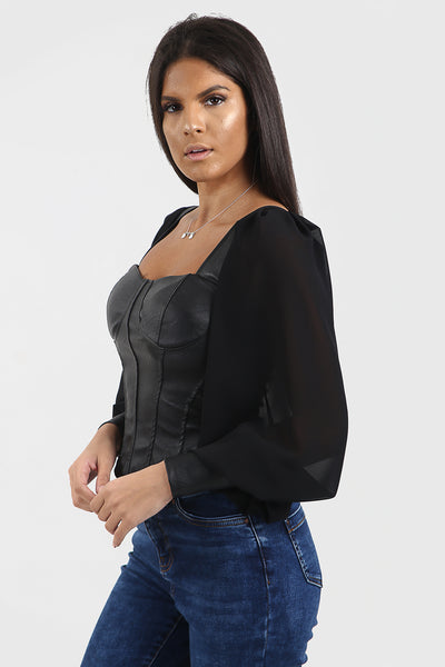 Black Faux Leather Bustier Top - Kamila