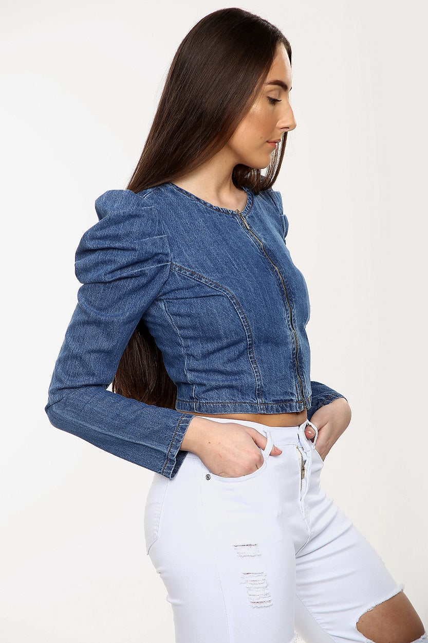 Denim Blue Puff Sleeve Zip Jacket  - Mabel