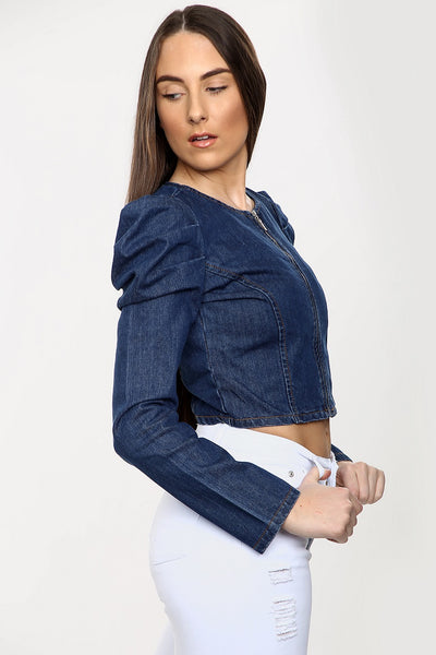 Dark Denim Blue Puff Sleeve Zip Jacket  - Mabel