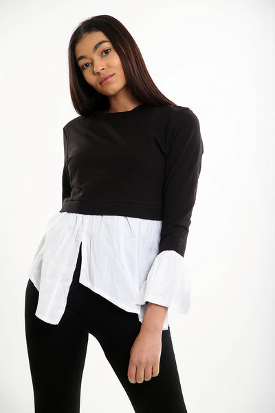Black Shirt Jumper Combo Top - Isla - storm desire