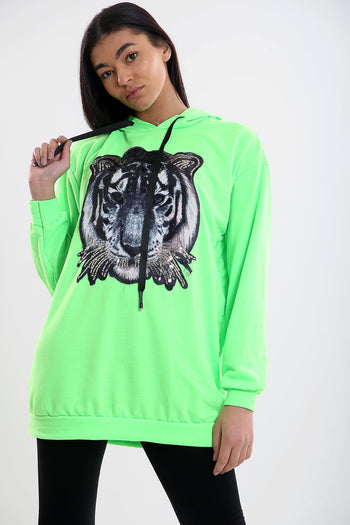Neon Green Sequin Tiger Badge Oversize Hooded Top - Bailey - storm desire