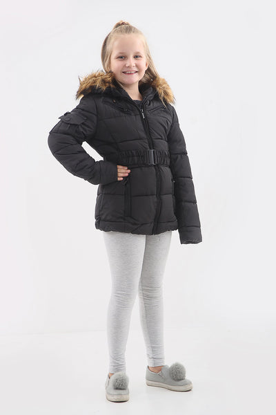 Kids Black Faux Fur Hood Quilted Puffer Jacket - Josie