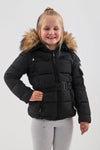 Kids Black Faux Fur Hood Quilted Puffer Jacket - Arlette