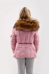 Kids Shiny Pink Faux Fur Hood Puffer Jacket - River