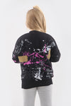 Kids Black Paint Splash Black Jumper - Gemma