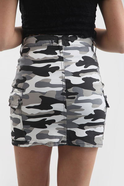 White Camo Army Combat Mini Skirt - @megcummingss