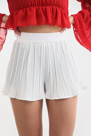 White Pleated Shorts - Ryleigh