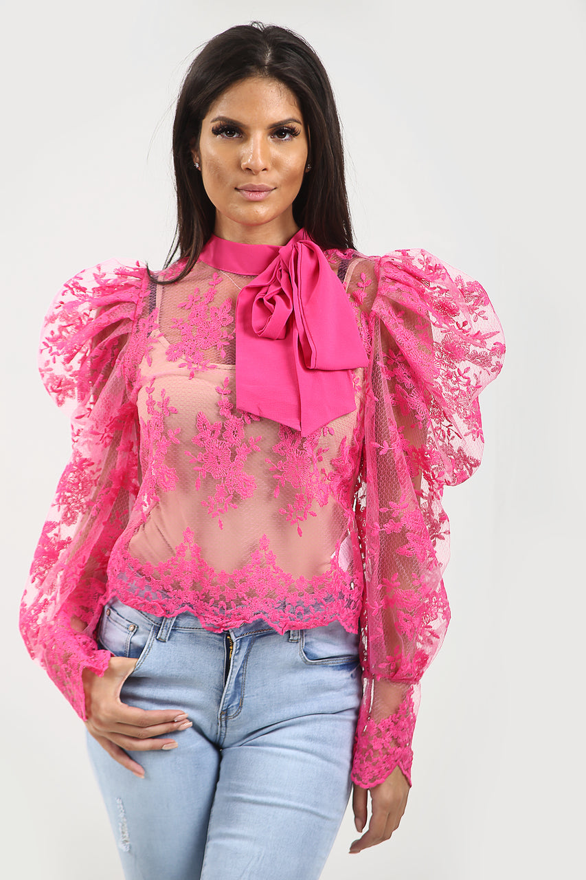 Cerise Pink Lace Mesh Bow Embroidery Blouse - Alicia