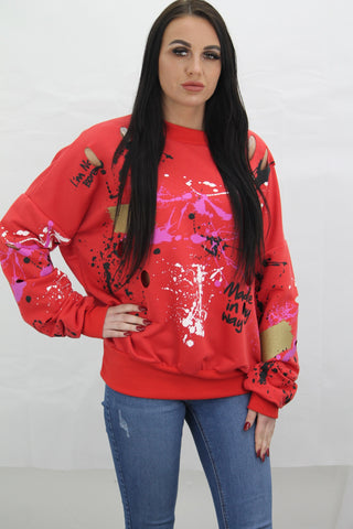 Kids Red Paint Splash Graffiti Jumper Gemma - Storm Desire