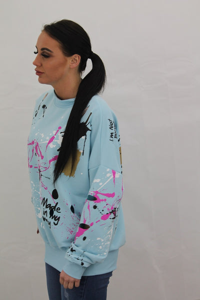 Baby Blue Paint Splash Jumper Gemma - storm desire