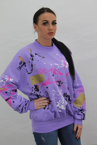 Purple Paint Splash Graffiti Jumper - storm desire