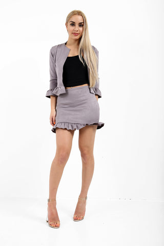 Quinn Frill Suede Co-ord Suit - Grey - storm desire