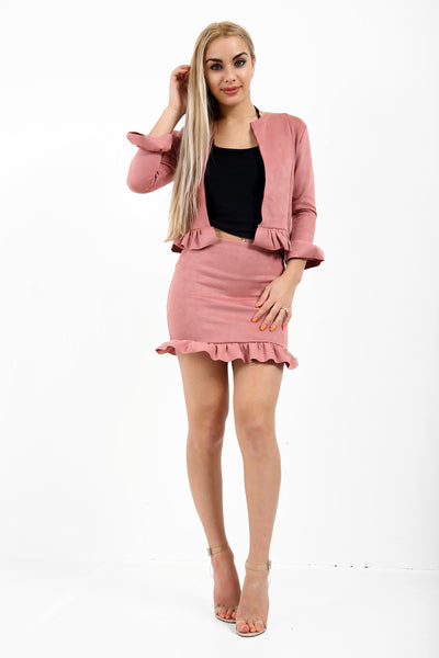 Quinn Frill Suede Co-ord Suit - Pink - Storm Desire