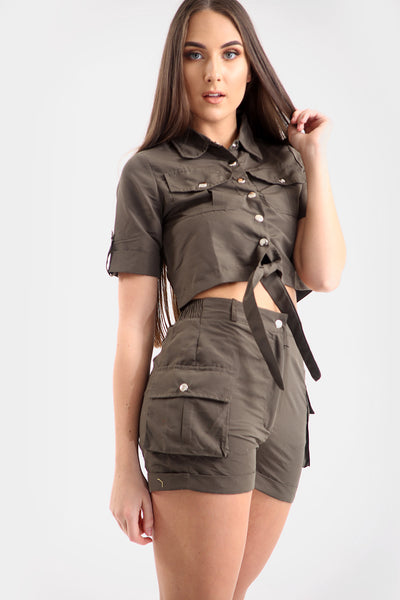 Khaki Green Crop Top & Shorts Co-ord Suit - Makayla