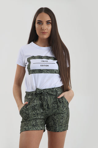 Green Reptile Snake Print T-Shirt & Hotpant CO-Ord Set - Parker - storm desire