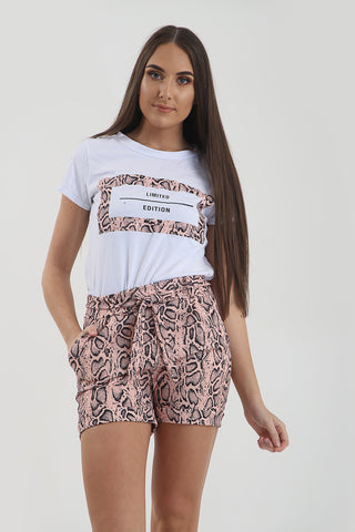 Baby Pink Reptile Snake Print T-Shirt & Hotpant CO-Ord Set - Parker - storm desire