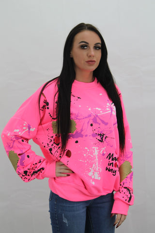 Kids Neon Pink Paint Splash Graffiti Jumper Gemma - Storm Desire